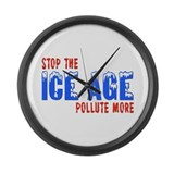 Stop The Ice Age Pollute More Large Wall Clock