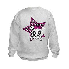 Girly Emo Skull Kids Sweatshirt