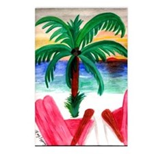 Red Beach Chairs Postcards (Package of 8)
