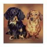 Two Dachshunds Portrait Tile Coaster