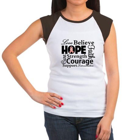 Uterine Cancer Hope Collage Women's Cap Sleeve T-S
