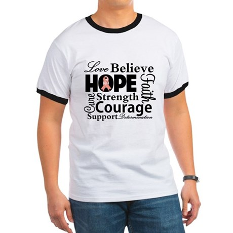 Uterine Cancer Hope Collage Ringer T