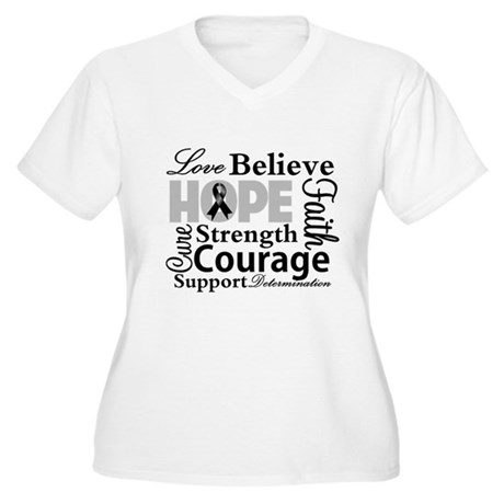 Skin Cancer Hope Collage Women's Plus Size V-Neck 