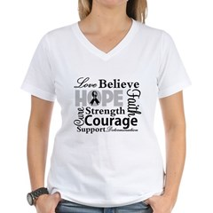 Skin Cancer Hope Collage Women's V-Neck T-Shirt