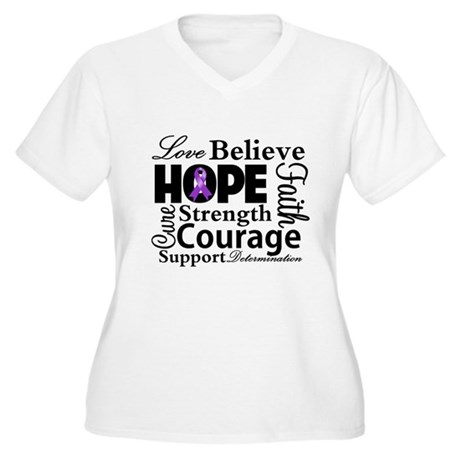 Pancreatic Cancer Hope Women's Plus Size V-Neck T-