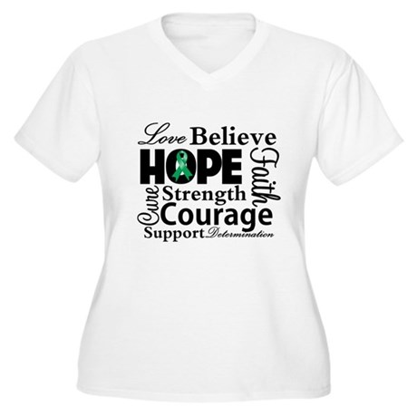 Liver Cancer Hope Collage Women's Plus Size V-Neck