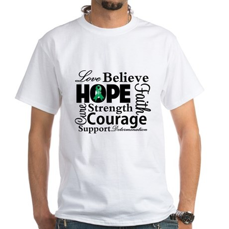 Liver Cancer Hope Collage White T-Shirt