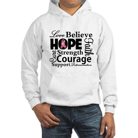 Breast Cancer Hope Collage Hooded Sweatshirt