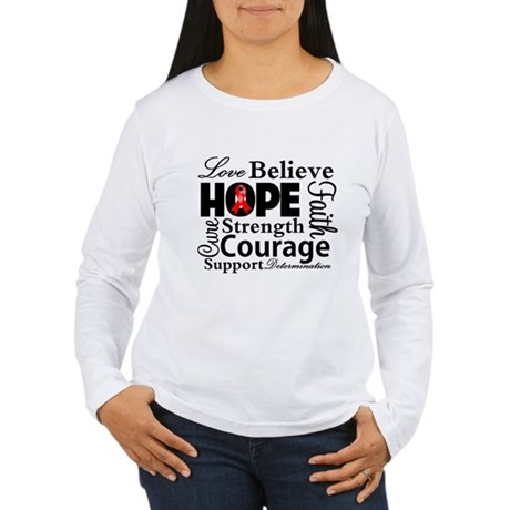 Blood Cancer Hope Collage Women's Long Sleeve T-Sh