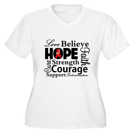 Blood Cancer Hope Collage Women's Plus Size V-Neck