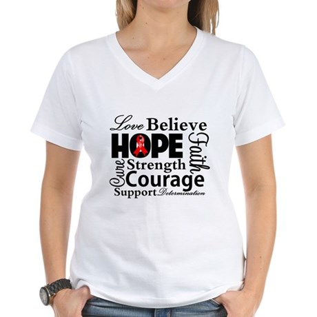 Blood Cancer Hope Collage Women's V-Neck T-Shirt