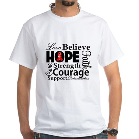 Blood Cancer Hope Collage White T-Shirt