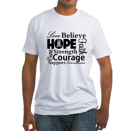 Brain Cancer Hope Collage Fitted T-Shirt
