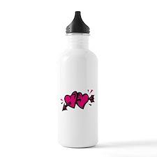 HEARTS & ARROW {11} : pink/bl Water Bottle