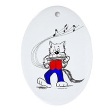 Catoons™ Harmonica Cat Ornament (Oval)