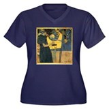 Gustav Klimt 'Music' Women's Plus Size V-Neck Dark
