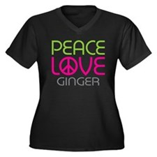 Peace Love Ginger Women's Plus Size V-Neck Dark T-