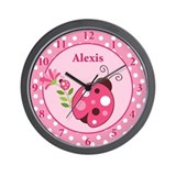 Ladybug Garden Pink Dot Wall Clock