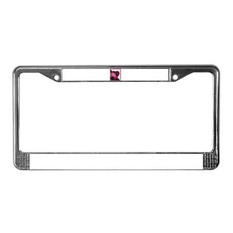 VALENTINE STAMP : pink/black License Plate Frame
