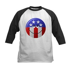 American Smiley Face Kids Baseball Jersey