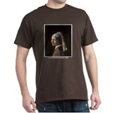 Vermeer Girl Pearl Earring (Front) Black T-Shirt