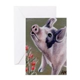 SINGING PIG Greeting Card