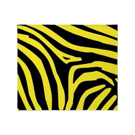 Yellow Zebra Print Throw Blanket