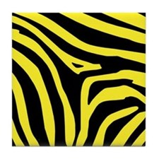 Yellow Zebra Print Tile Coaster