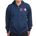 Peace Love Paws Zip Hoodie (dark)