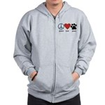 Peace Love Paws Zip Hoodie