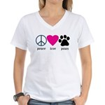 Peace Love Paws Women's V-Neck T-Shirt