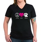 Peace Love Paws Women's V-Neck Dark T-Shirt