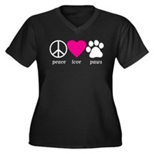 Peace Love Paws Women's Plus Size V-Neck T-Shirt
