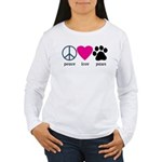 Peace Love Paws Women's Long Sleeve T-Shirt