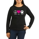 Peace Love Paws Women's Long Sleeve Dark T-Shirt