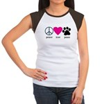 Peace Love Paws Women's Cap Sleeve T-Shirt