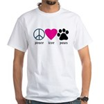 Peace Love Paws White T-Shirt