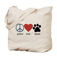 Peace Love Paws Tote Bag
