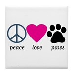Peace Love Paws Tile Coaster