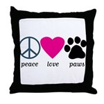Peace Love Paws Throw Pillow
