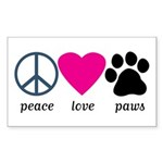 Peace Love Paws Sticker (Rectangle 10 pk)