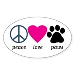 Peace Love Paws Sticker (Oval 10 pk)