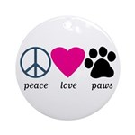 Peace Love Paws Ornament (Round)