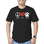 Peace Love Paws Men's Fitted T-Shirt (dark)
