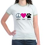 Peace Love Paws Jr. Ringer T-Shirt