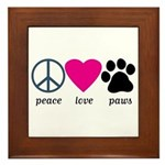Peace Love Paws Framed Tile