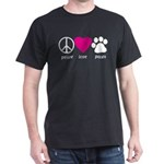 Peace Love Paws Dark T-Shirt