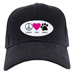 Peace Love Paws Black Cap
