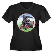 Cute Steam engine Women's Plus Size V-Neck Dark T-Shirt