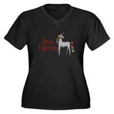 Team Unicorn Rainbow Women's Plus Size V-Neck Dark